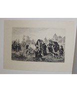 Horse Market Cracow Steel Engraving by Krauskopf 1800's - $35.00