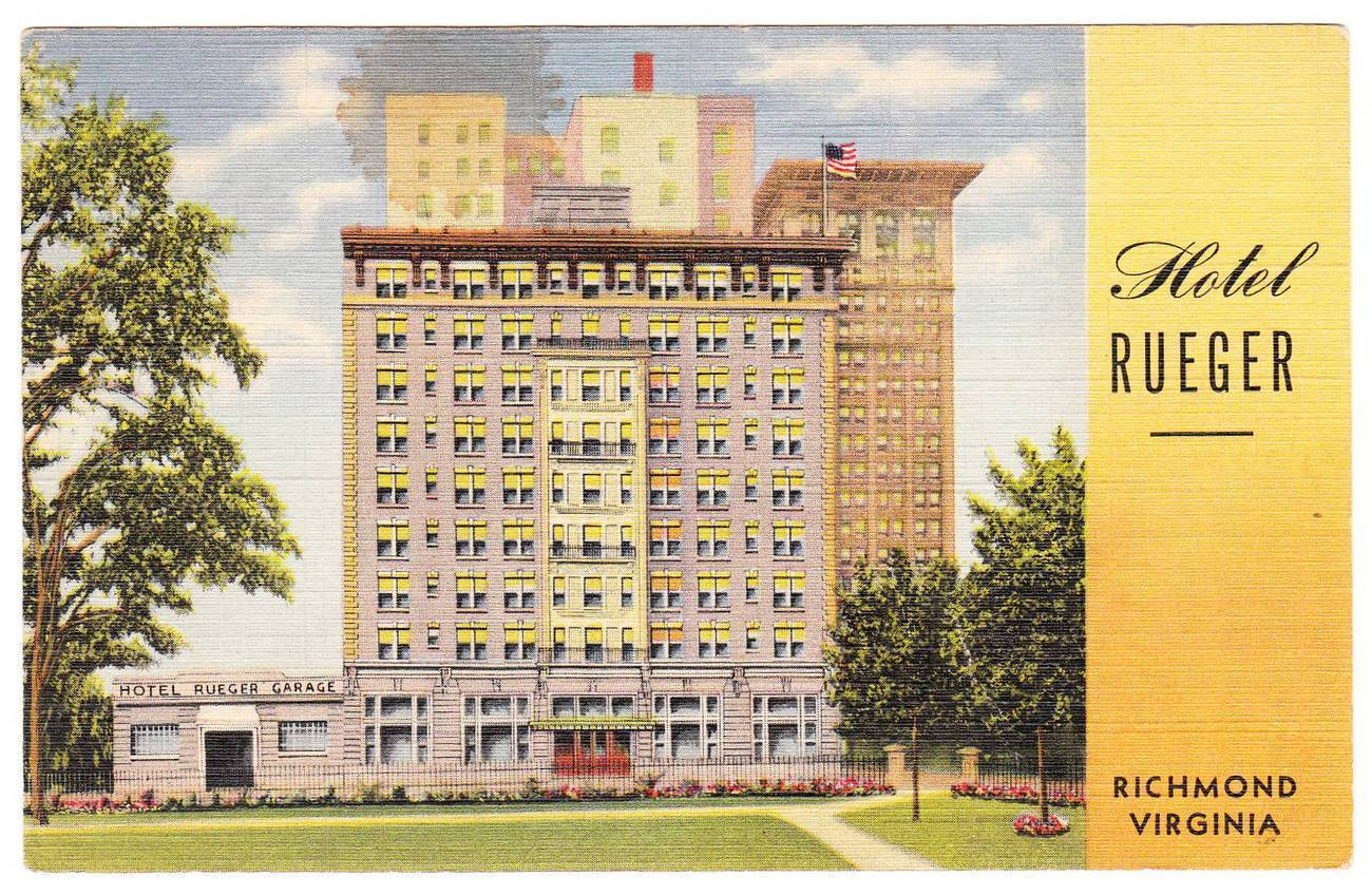 Vintage Linen Postcard Hotel Rueger Richmond VA Virginia