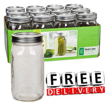 Ball Pint Jar 32Oz 12pc Wide Mouth Can Freeze C... - $29.69
