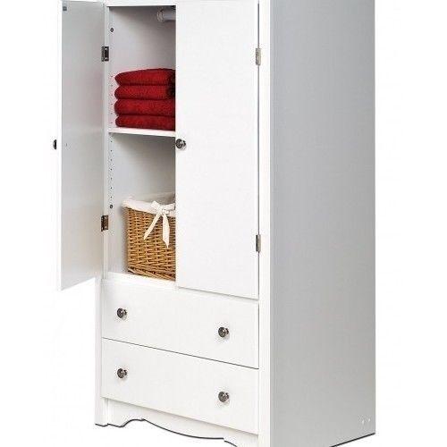 Kitchen Storage Cabinets With Doors: White Storage Cabinet Monterey2-Door Armoire 2 Drawer