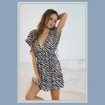 Summer Beach Wear Mini Swimsuit Cover-up Zebra  Dress