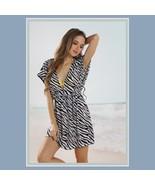 Summer Beach Wear Mini Swimsuit Cover-up Zebra  Dress - $26.95