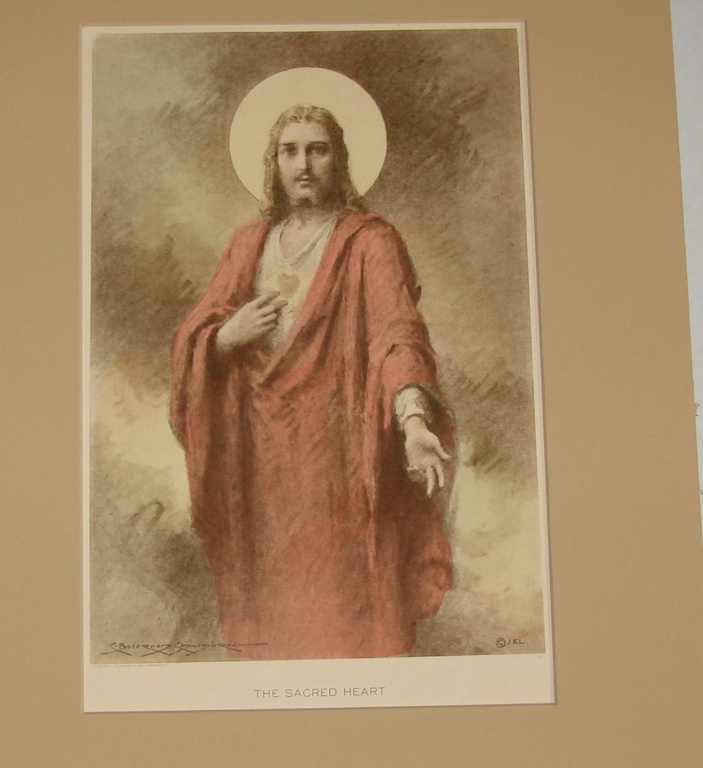 The Sacred Heart by  C. Bosseron Chambers Double Matted Print (1933) St Anthony'