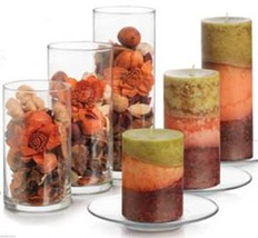 Libbey Clear Glass Cylinder and Plate Candle Holder Cascade Set / 6 Piece - $34.58