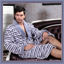 Super Soft Thick Coral Fleece Men's Gray Striped Bathrobe Lounger