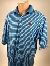 PETER MILLAR Summer Comfort Striped Golf Polo Shirt Mens Size XL Blue White - $23.26