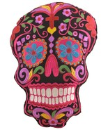 Black Sugar Skull Throw Pillow Detailed with Colors Embroidered Decorati... - $24.95
