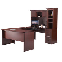 Realspace Broadstreet Contoured U Shaped Desk W Hutch