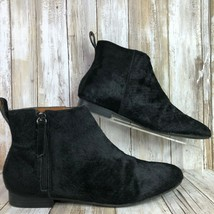Gap 9M Holiday Calf Hair Ankle Boot Black Leather Zip Up Block Heel Casual Dress - $56.99