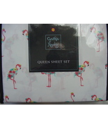 Cynthia Rowley Floral Flamingos on White Microfiber Sheet Set Queen - $66.00