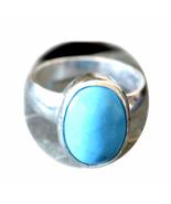 Natural Turquoise Silver Ring 5 Carat Gem Handmade Sizes K,L,M,N,O,P,Q,R... - $37.29