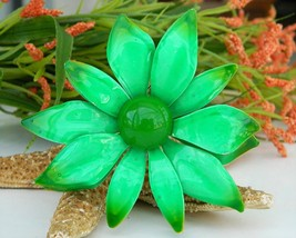 Vintage Metal Enamel Flower Brooch Pin Bright Green Large Layered - $17.95