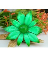 Vintage Metal Enamel Flower Brooch Pin Bright G... - $17.95