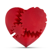 LeLuv Large 3D Printed Heart Gear Twister Brain Teaser Toy Nerd Gift, Red - $24.99