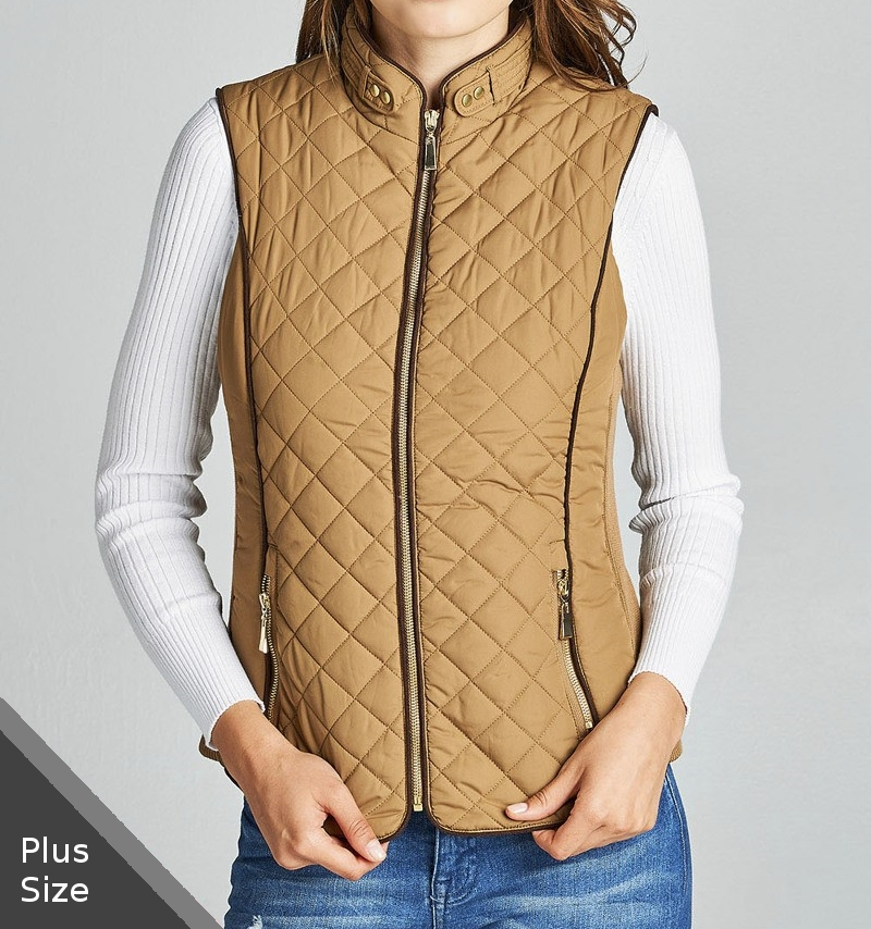 Plus Size Quilted Vest, Faux Shearling Lined Vest, Camel Plus Size Lined Vest 3X