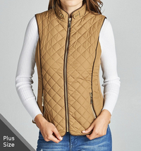 Plus Size Quilted Vest, Faux Shearling Lined Vest, Camel Plus Size Lined... - $49.99