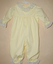 Vintage Frilly Lace Trimmed Yellow Baby Bubble Romper Size 9 mo  Toddle ... - $15.83