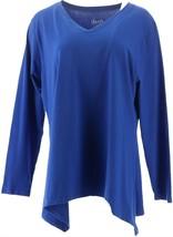 Denim & Co Chic Long Slv V-Neck Trapeze Hem Knit Top Royal Blue M NEW A2... - $24.73