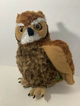 "Wild Republic great horned owl plush 12"" brown 2013 K&M International stuffed  - $8.95"