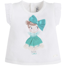 Mayoral Baby Girl 3M-24M Doll Applique Knit Top/Tee, Aquamarine