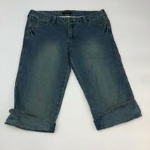 Tara Jarmon Capri Jeans Women's Size 15 Light Blue Denim Low Rise Cuffed... - $18.95