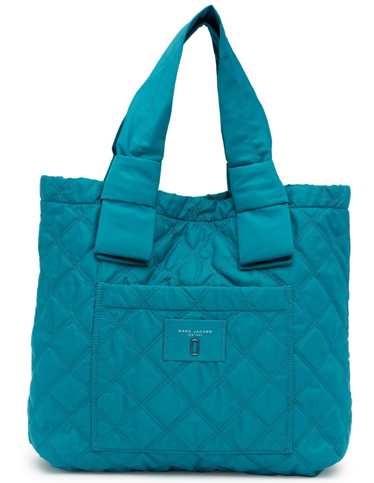 Primary image for Marc Jacobs Bag Diamond Quilted Nylon Large Knot Tote Peacock NEW