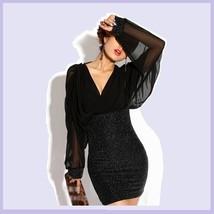 Formal Sheer Black Mesh Chiffon Long Cuffed Sleeve V Neckline Mini Prom Dress  image 2