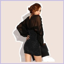 Formal Sheer Black Mesh Chiffon Long Cuffed Sleeve V Neckline Mini Prom Dress  image 3