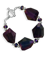 "NEW Women's Bracelet 8"" Silver Plated Glass Nugget Fashion Bracelet - MS... - $8.76"