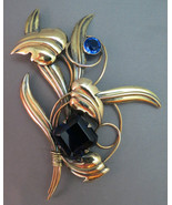 "Huge 5"" Art Deco 12K GF on Sterling Brooch LS &... - $197.99"