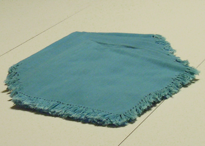 "Napkins:   8 aqua cloth 16"" X 17"" slightly fringed"