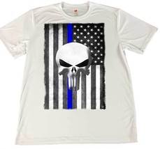 Thin Blue Line Punisher American Flag Wicking Material T-Shirt & Car Coa... - $16.78+