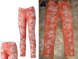 $88 ROCK &REPUBLIC PEACH CORAL Rockandy Tie Dye Retro Berlin Skinny Jean... - $29.97