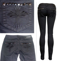 $140 AFFLICTION Denim Cross Pyramid Metal Studs Jeans-Raquel Black Skinn... - $49.97