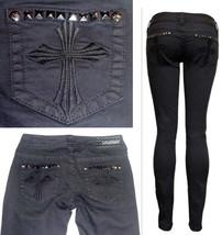 $140 AFFLICTION Denim Cross Pyramid Metal Studs Jeans-Raquel Black Skinn... - $44.97