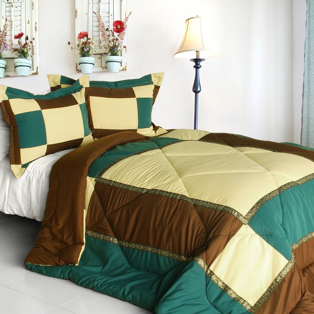 elegant art quilted patchwork down alternative comforter set twin size comforters sets. Black Bedroom Furniture Sets. Home Design Ideas
