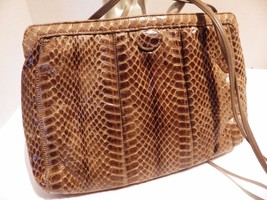 Vintage Palizzio Snakeskin Convertible Clutch Shoulder Bag Tension Clasp - $24.70