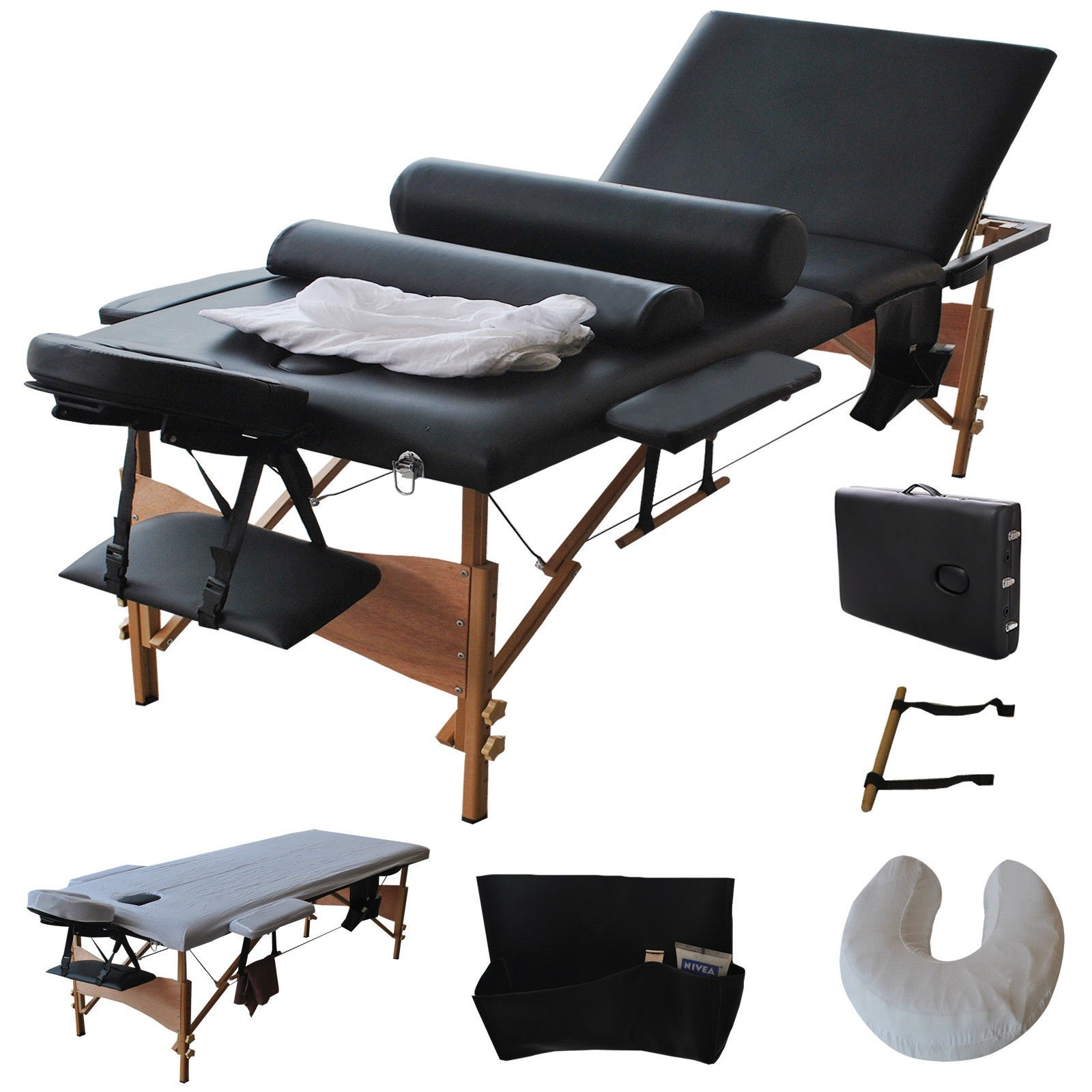 "Best 84""L Fold Massage Table Portable Facial Bed W/Sheet+Cradle Cover+2 Bolster"
