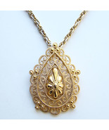 Classic Vintage MOD 1970s Trifari Runway Gold Tone Pendant Necklace Signed - $35.00