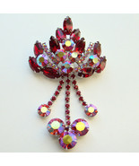 Juliana DeLizza Elster Brooch Ruby Red Rhinestone Pink Aurora Borealis D... - $195.00