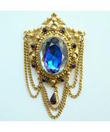 Vintage Florenza Blue Heliotrope Rhinestone Bro... - $80.00