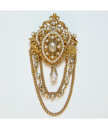 Vintage Florenza Faux Pearl Brooch with Chain S... - $75.00
