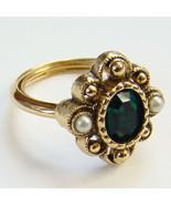 1976 Avon Versailles Ring Green Stone Size 7 Si... - $25.00