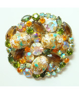 Juliana DeLizza & Elster Rhinestone Easter Egg Brooch Coral Gold Cabochon - $195.00