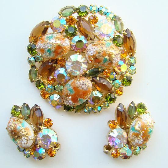 Juliana DeLizza & Elster Rhinestone Brooch Earr... - $295.00