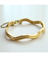 Vintage Monet Hinged Scalloped Wave Gold Tone B... - $29.00
