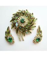 Juliana Delizza & Elster Brooch Earrings Green ... - $195.00