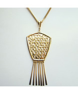 Vintage 1970s Shiny Gold Tone Pendant Necklace with Long Dangles Unsigned - $55.00
