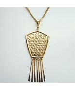 Vintage 1970s Shiny Gold Tone Pendant Necklace ... - $55.00