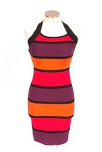 EXPRESS Multi Color Block Stretch Bodycon Halter Cocktail Party Mini Dre... - $29.69